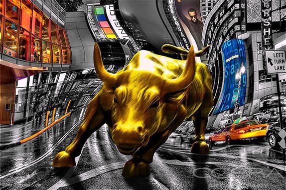 Raging Bull in Time Square