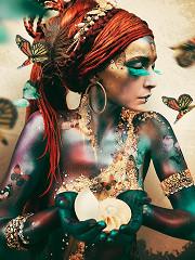 Woman with butterflies / plexiglas
