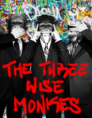 Three wise Monkeys / painting on canvas