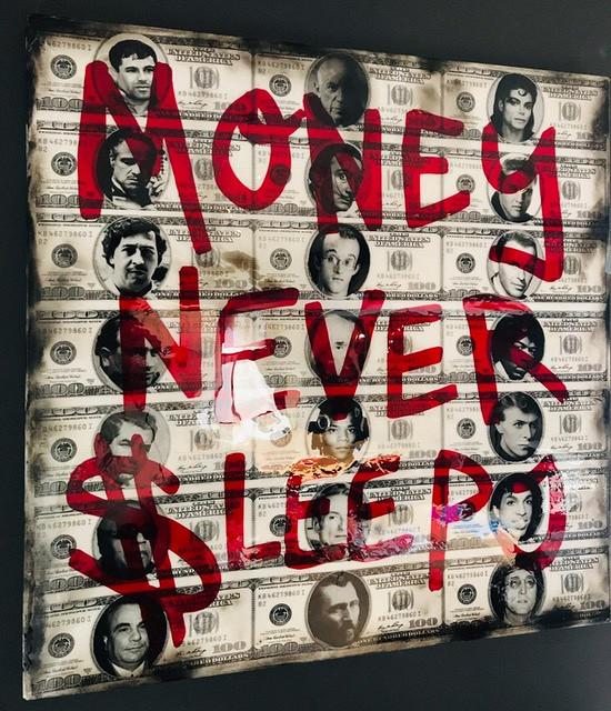 Money never sleeps / canvas met epoxy. limited masterpiece