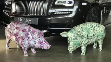 Money pigs euro / dollar / paints & lak on polystone