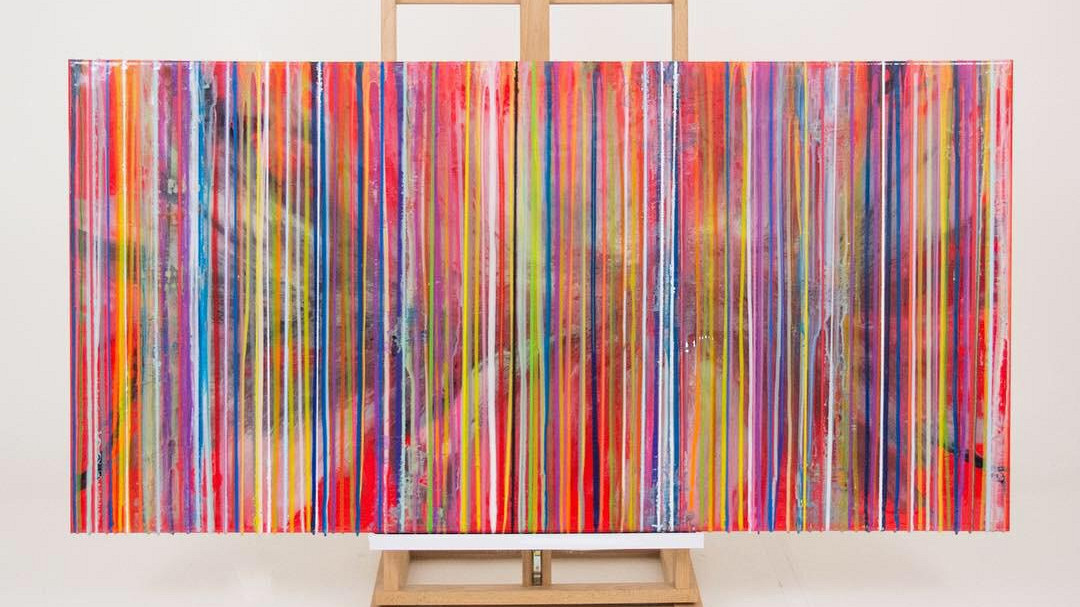 Colorful stripes / canvas met epoxy. limited masterpiece / B-art