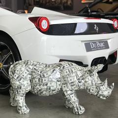 Money Rhino / Prints & lak op polystone - indoor & outdoor