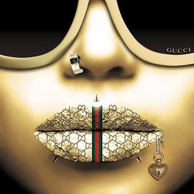 Gucci Gold / foto op plexiglas